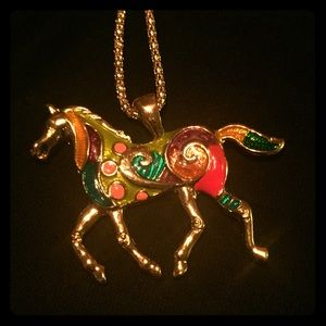 Betsey Johnson Pink Green Gold Horse Necklace NWT